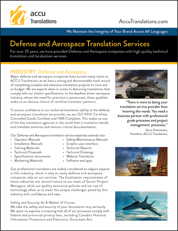 Accu Translations - Defense Flyer (Front)