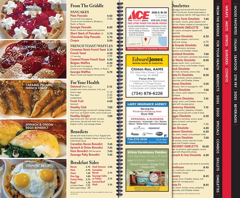 Pinckney Diner Menu - Inside/Ads - AdReit Design