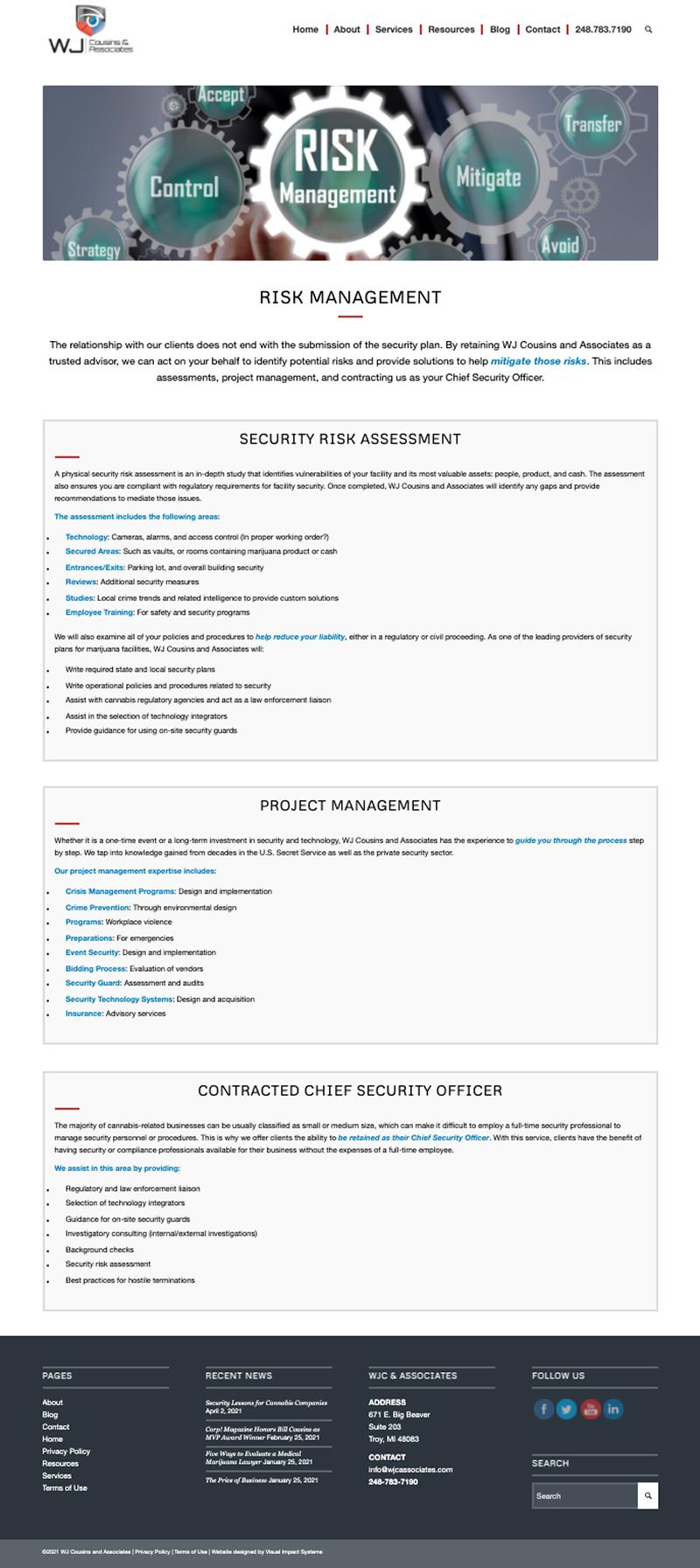 WJ Cousins & Associates-Website-Risk Management Page